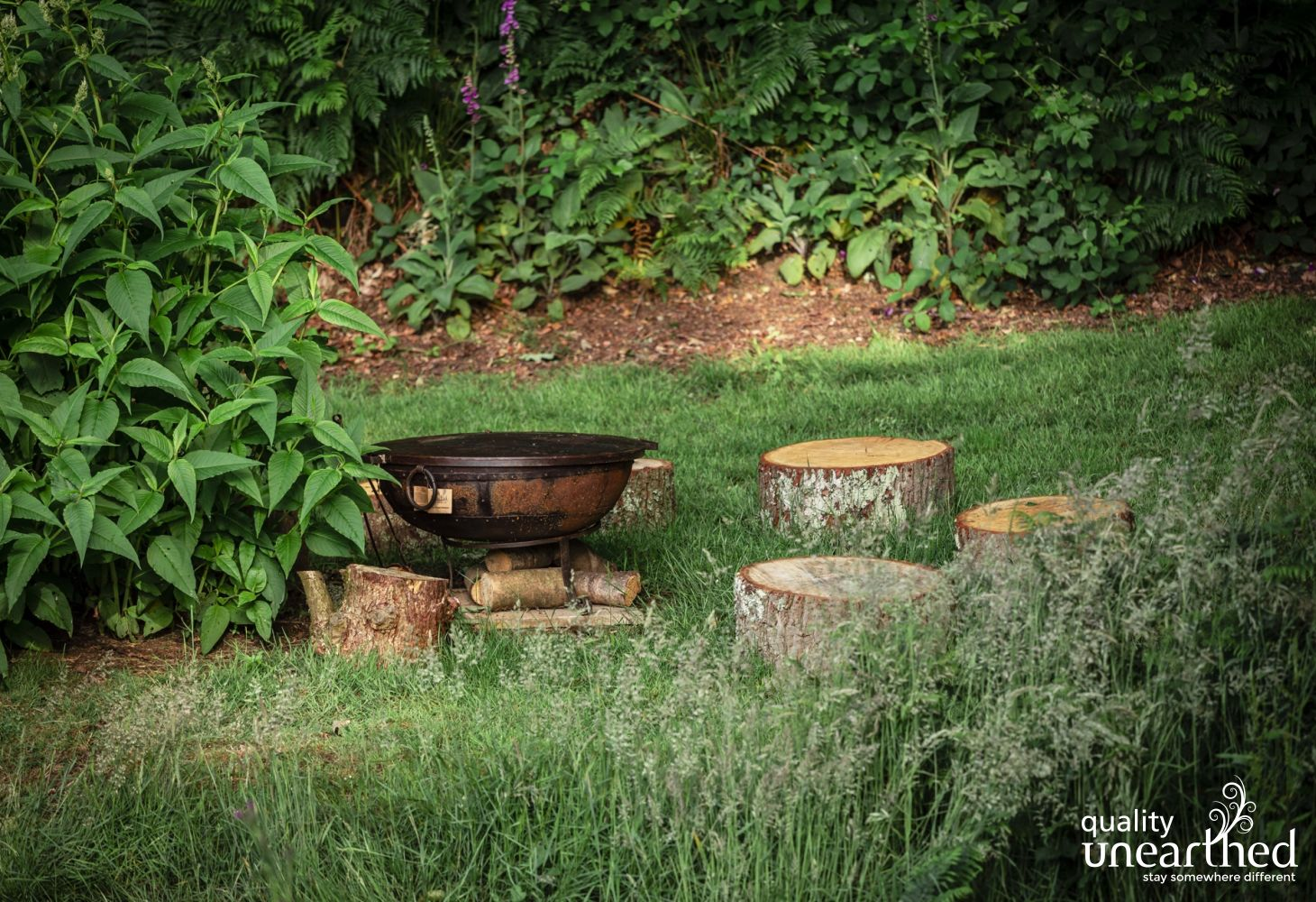 Fire pit in the treehouse garden