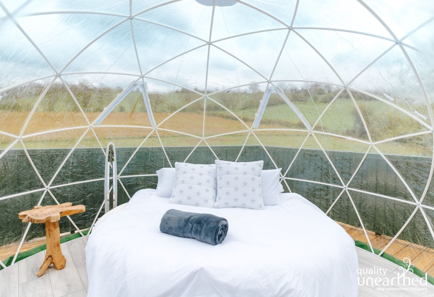 Quirky glamping doesn't get much better than having your own king size circular bed to lounge in whilst stargazing