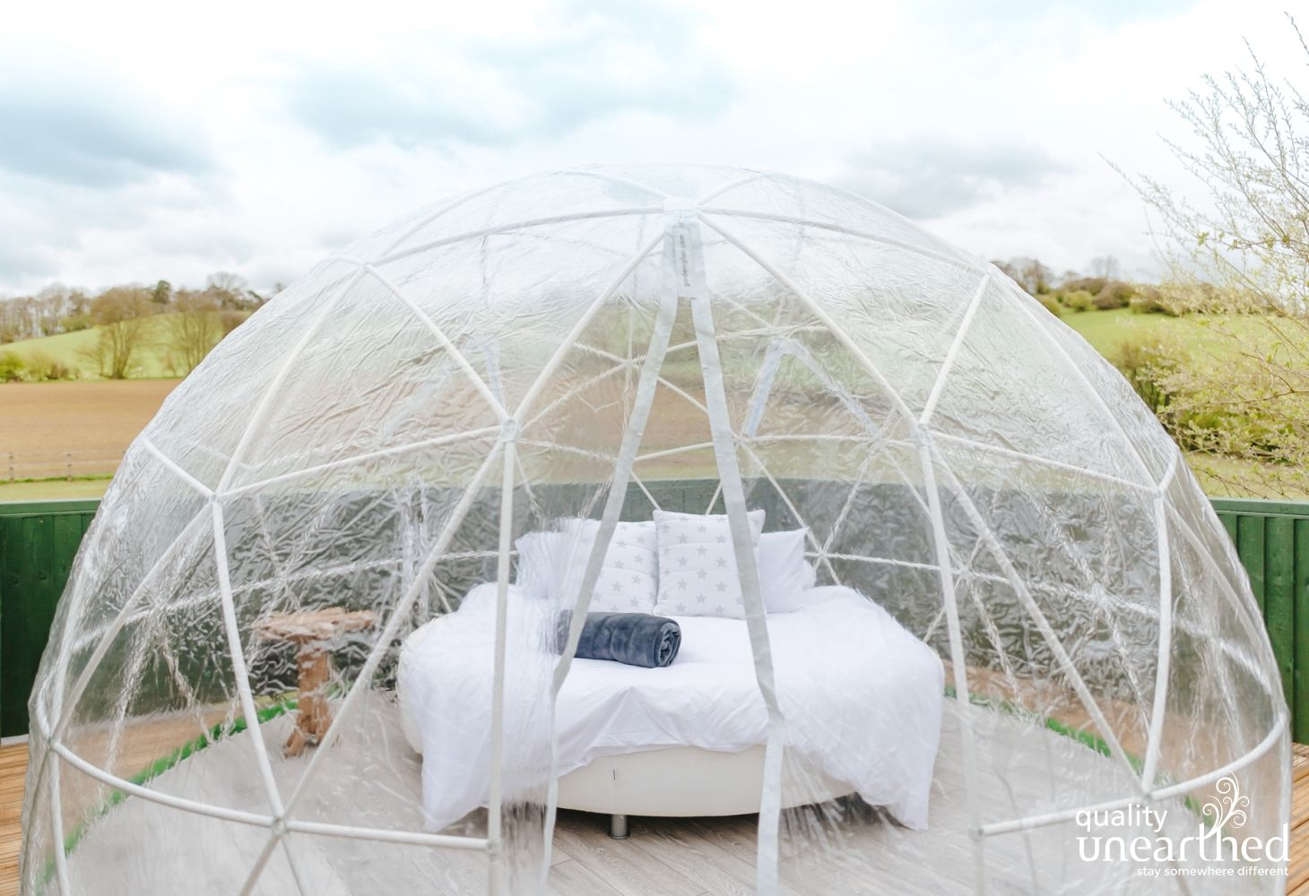 A see-through geodesic dome for stargazing under the clear night sky