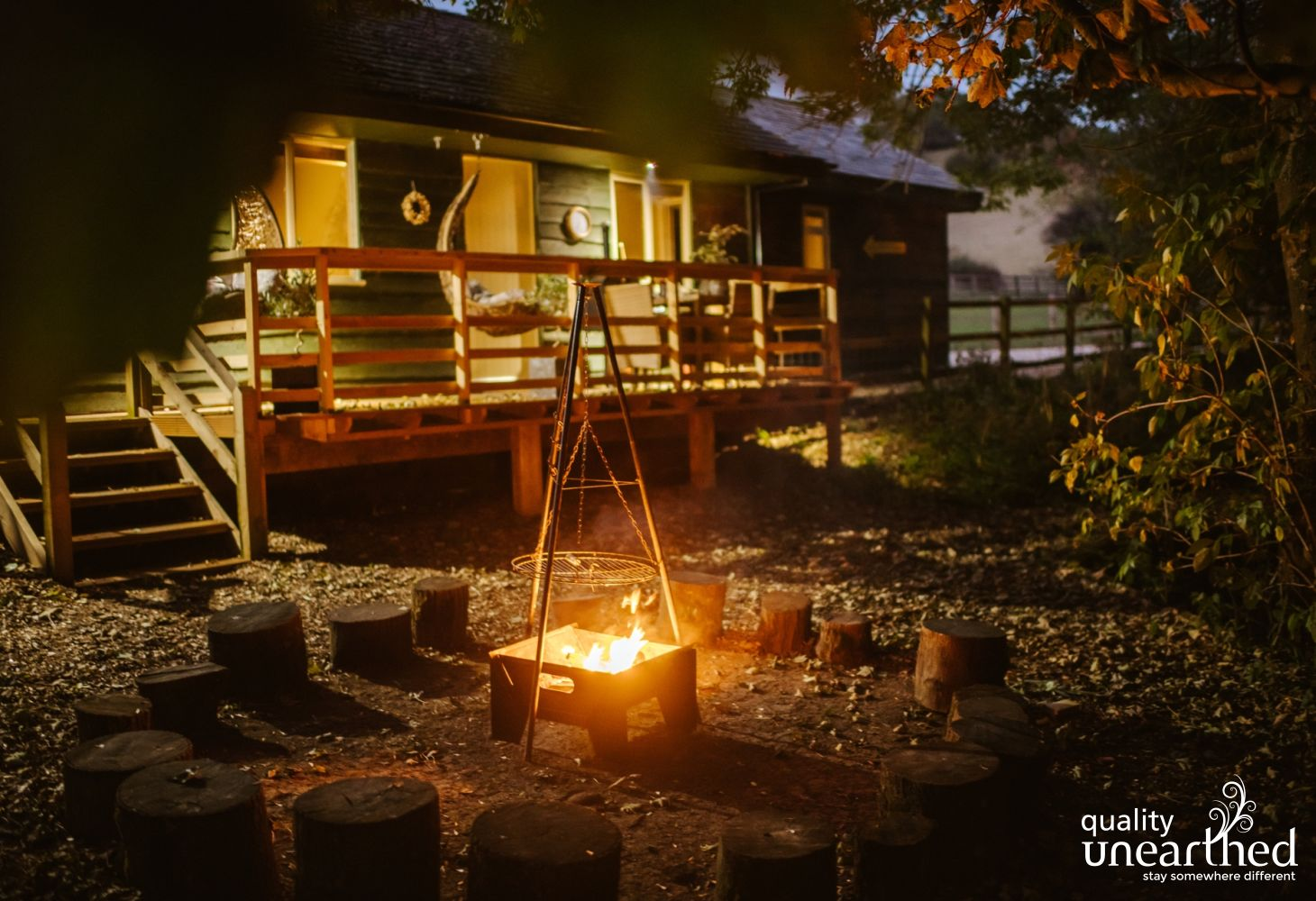 A fire pit goes hand in hand with many a family glamping holiday