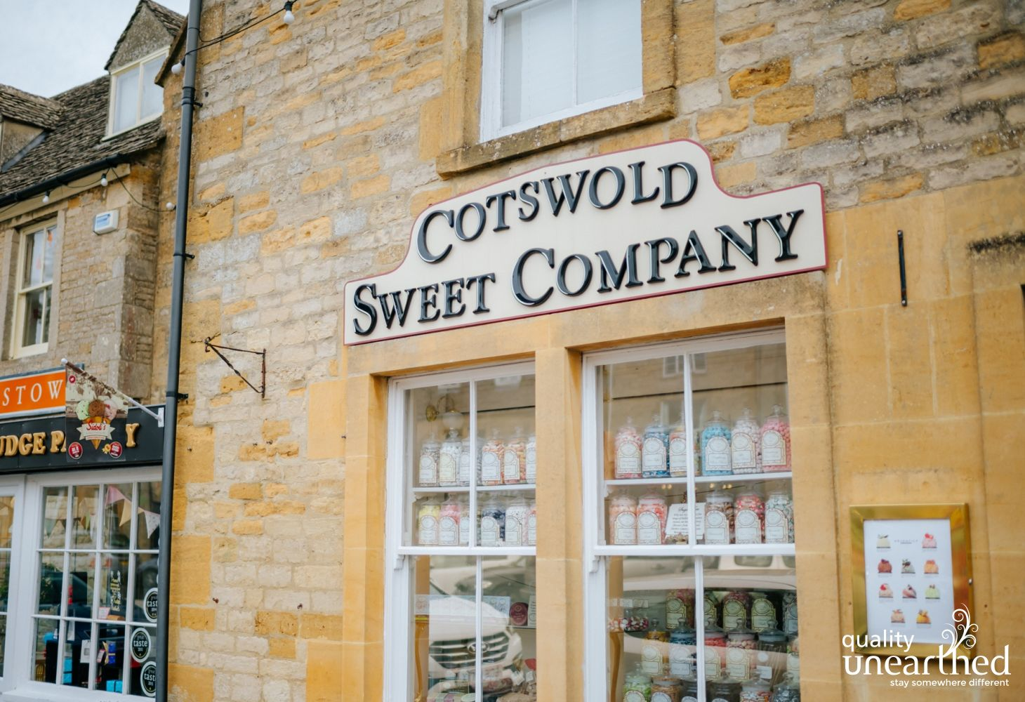 This is a photo of a traditional sweet shop, found in the popular Cotswold town of Stow On The Wold