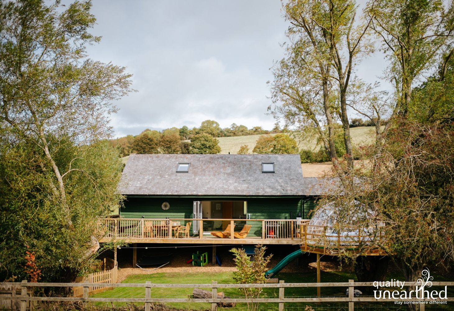 The wooden Cotswold treehouse has something for everyone, making it a perfect family holiday