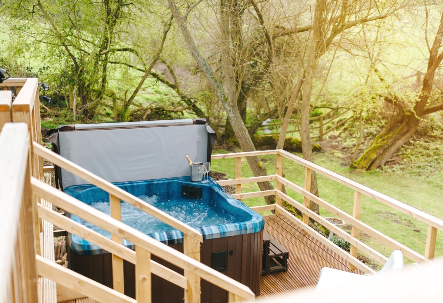 The hot tub is large enough for a family glamping holiday