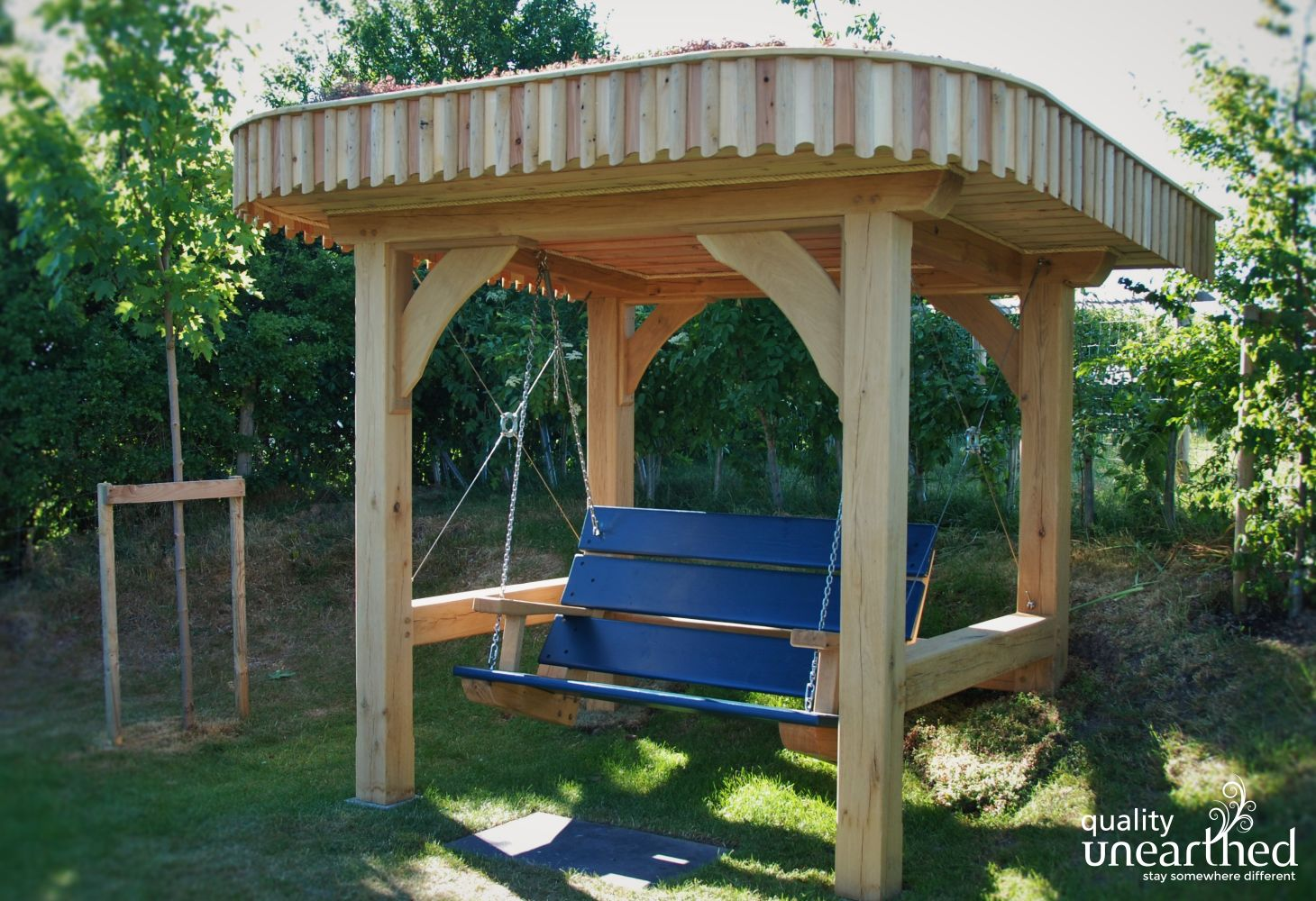 Hand crafted Solid Wood Swing bench with canopy