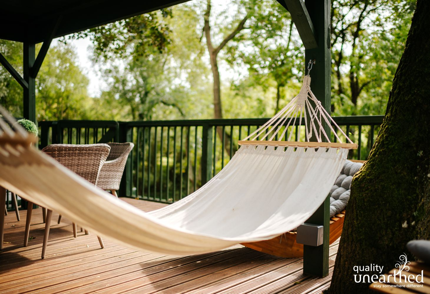 A hammock makes it impossible not to relax at this luxury treehouse set in the Cotswold woods