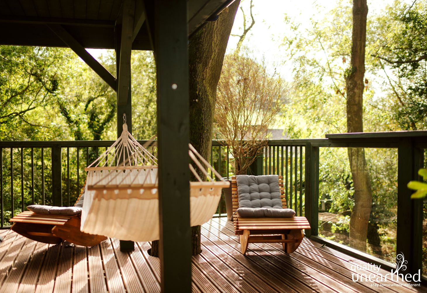Take your pick of relaxing places to stay at this romantic treehouse