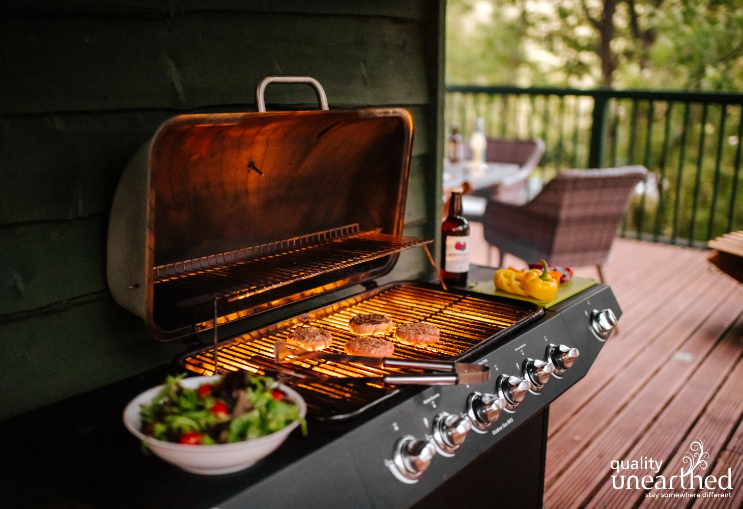 A large gas BBQ is a must for English glamping breaks