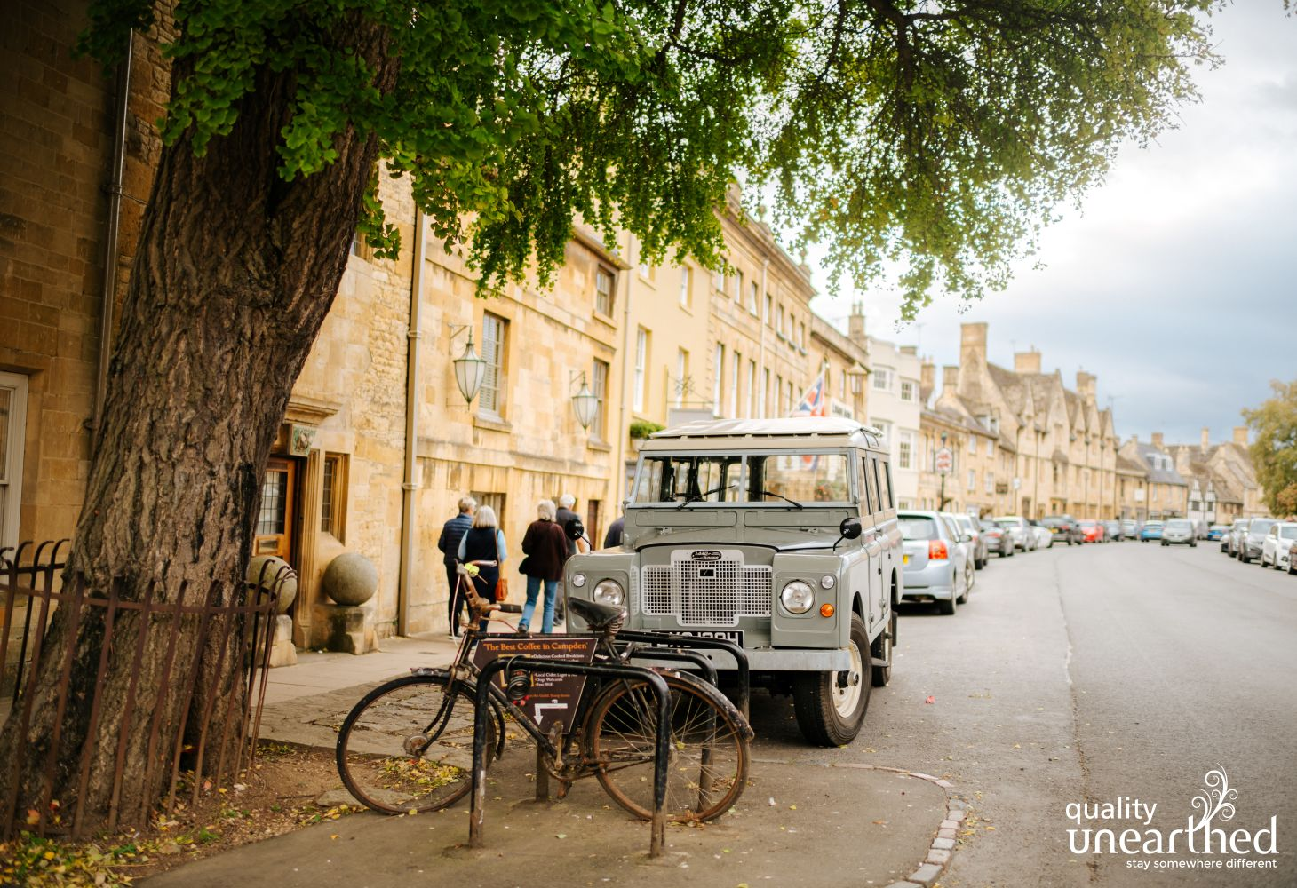 A street in Chipping Campden shows off the local yellow Cotswold stone