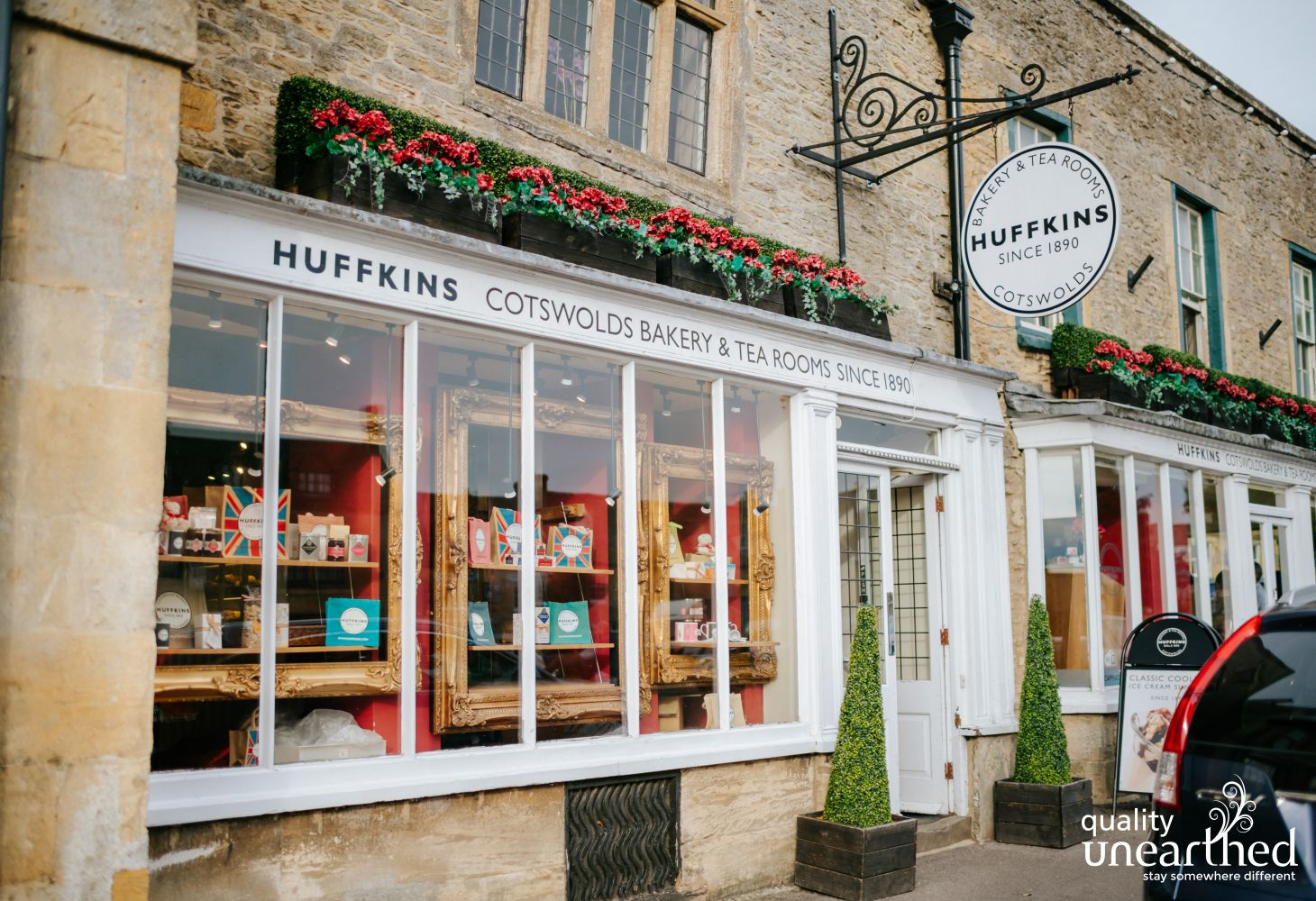 This is Huffkins bakery in the famous Cotswold town of Stow On The Wold
