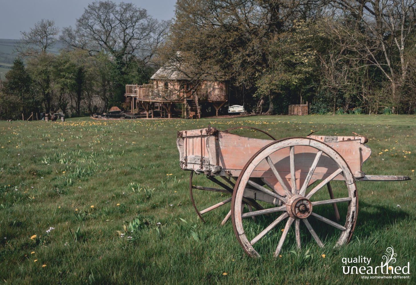 An old horse drawn cart sits as decoration on a grassy hill with dandelions and daffodils with the Breacon Breacons and treehouse in the background