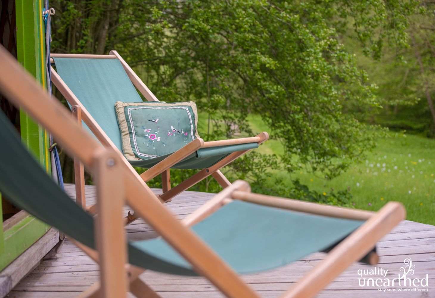 2 deck chairs entice you to chill and relax at this divine family yurt