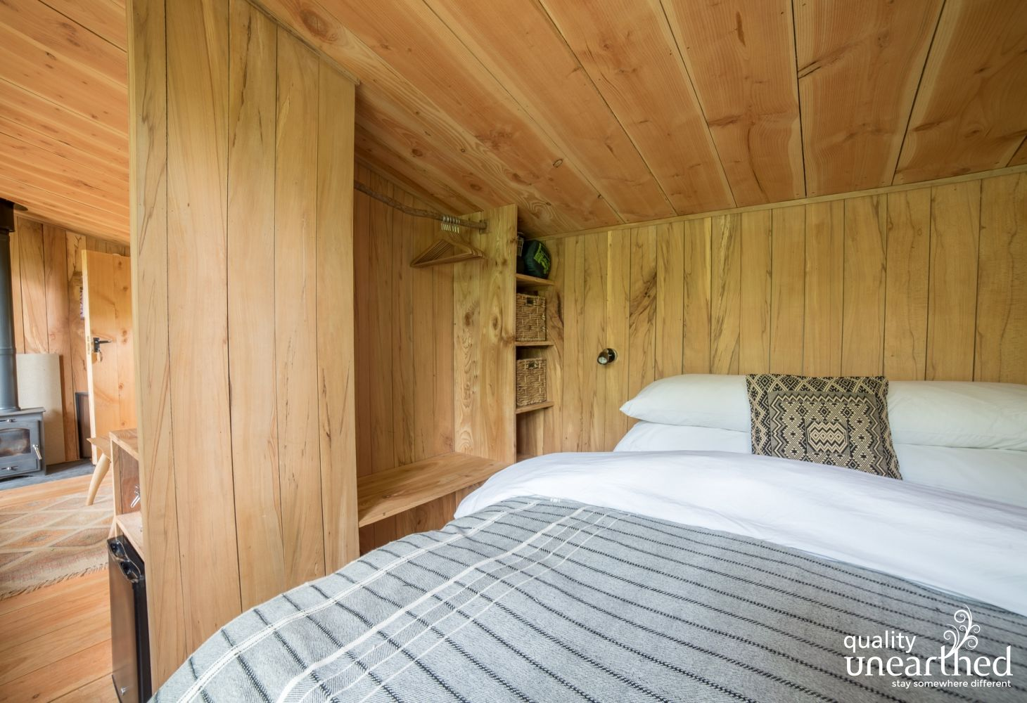 Contemporary spaces look like this. The walls of the treehouse for 3 are exposed so you can see the fine craftsmanship at the welsh treehouse