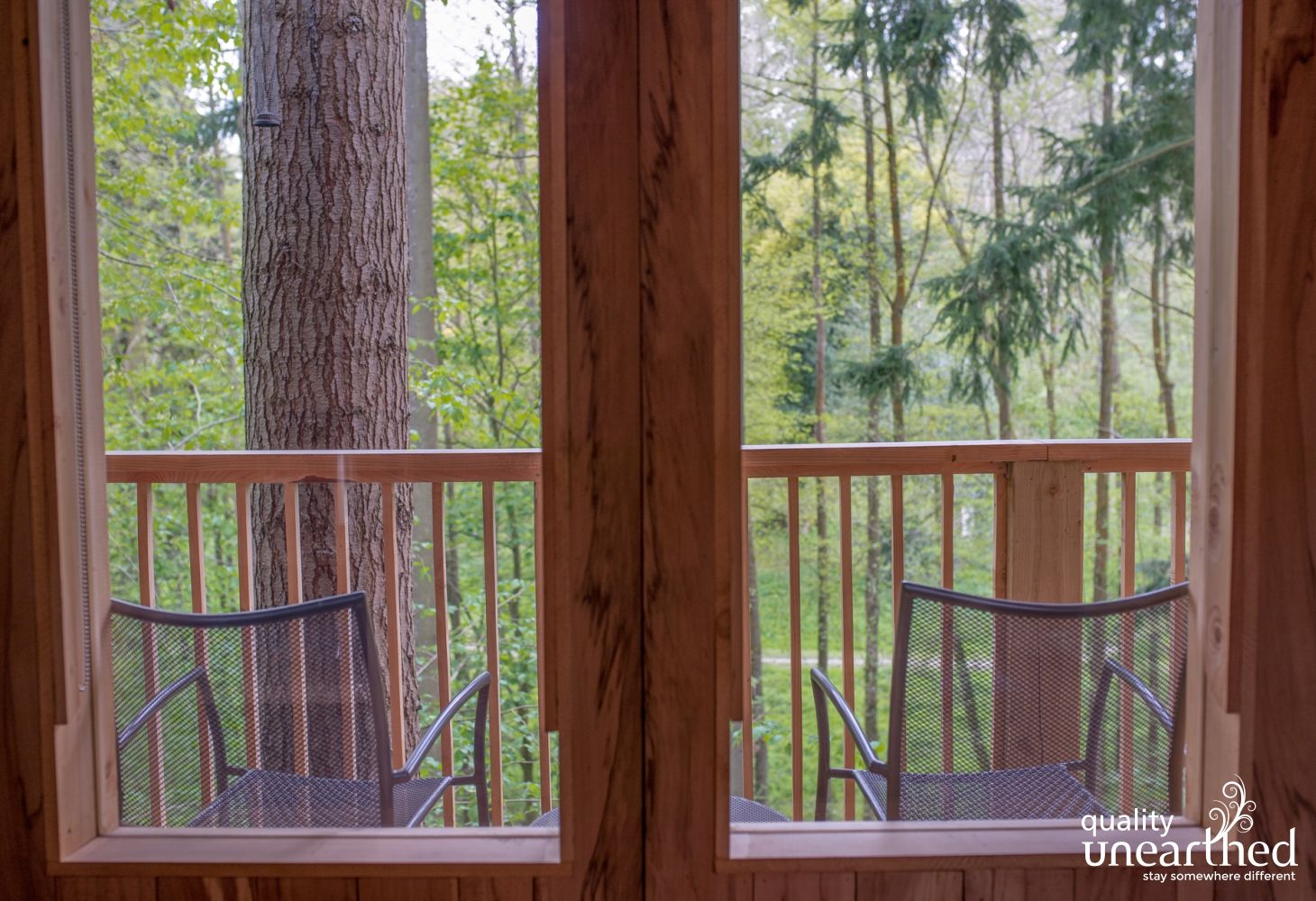 View from inside the treehouse for 3 to the woodland which forms part of this 25 acre estate