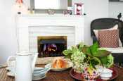 Spacious rural holiday cottage in coastal Harlech, within the Snowdonia National Park- lounge with gas fireplace.