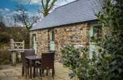 Rural holiday cottage with countryside views in Pembrokeshire, near Rhosfach - Patio area with seating for four people.