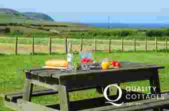 Cottage holiday garden with sea views