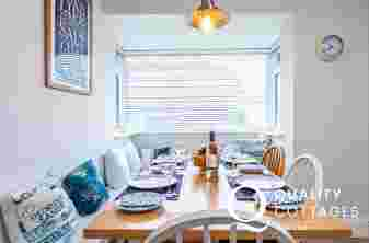 Dining table at stylist self catering cottage in Rhosneigr Anglesey
