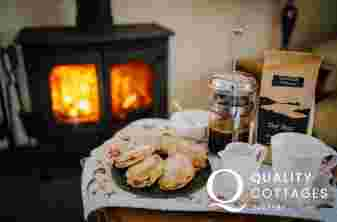 Log burner Welsh cakes and coffee