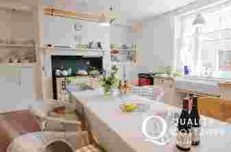 Kitchen dining table, Aga range cooker