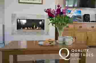 Four Mile Bridge holiday cottage, sleeps nine - lounge with modern gas fire.