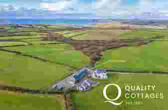 Aerial view of location of cottage in North Pembrokeshire