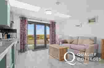Open plan living area and luxury fitted kitchen