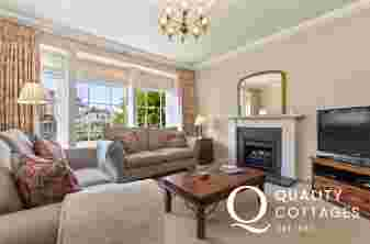 Holiday house St Davids lounge two settees T.V. gas log effect fire