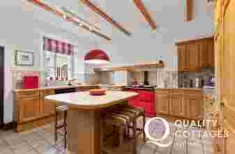 North Pembrokeshire holiday house luxury kitchen with breakfast island and stools