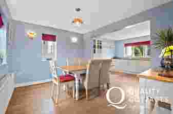 Cottage holiday Tenby dining area large dining table seating for 6