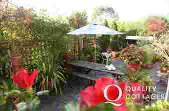Garden patio of holiday home near to Tenby