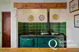 Kitchen in holiday home in Wales with aga