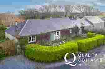 Exterior view of dog friendly holiday cottage in Bosherton, Pembrokeshire.