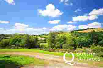 Countryside from dog friendly rural holiday cottage in Carmarthenshire