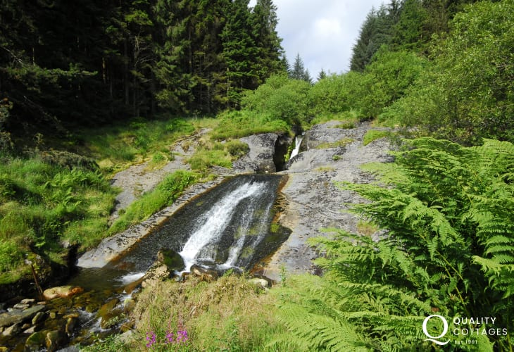 Waterfall close to the of source of the river Severn