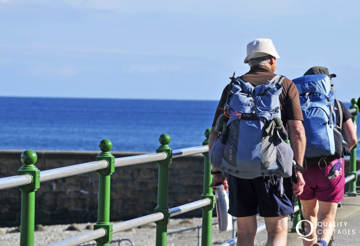 Walkers passing through Criccieth on the Llyn Coast Path