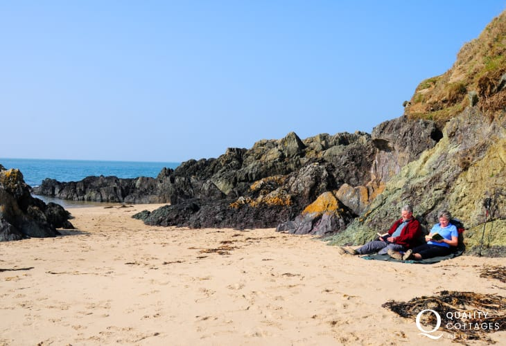 The soft sandy beach at Porth Oer, whistling sands beneath your feet!