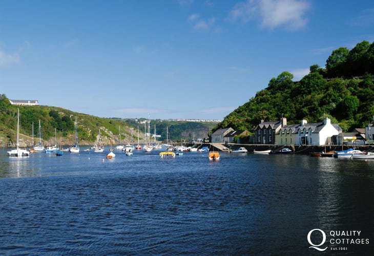 Enjoy a walk along the harbour at Lower Town, Fishguard - a busy market town