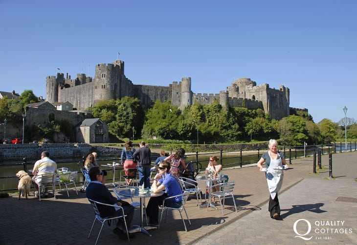 Cornstore Cafe overlooks Medieval Pembroke Castle - Falconry displays, music festivals and historical events take place throughout the year