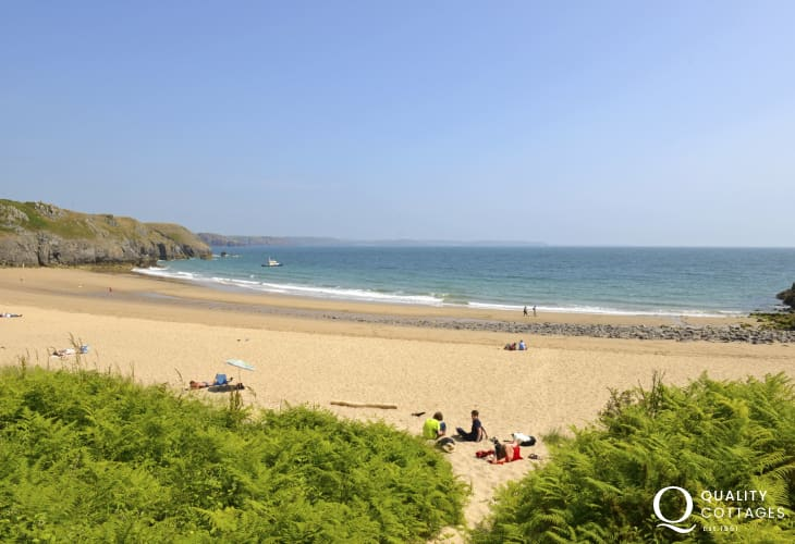 Exotic Barafundle (National Trust) - one of Britain's most stunning beaches with golden sand and crystal clear waters
