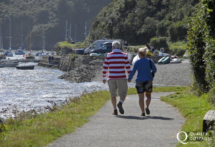 Solva Harbour - walk the tow path alongside yachts of all shapes and sizes on the river