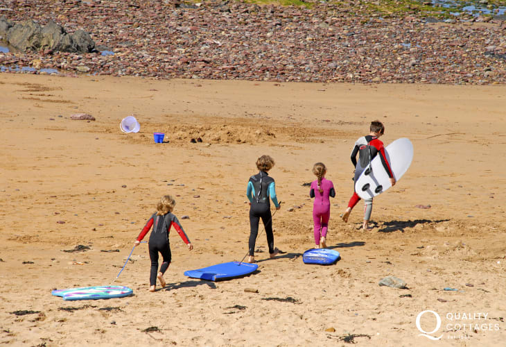 Tresaith beach is a popular location for surfing, and also has a busy sailing club with racing on most Sundays throughout the season