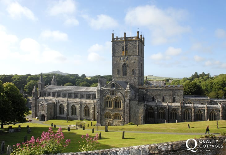 St Davids Cathedral with the ruined Bishops Palace is along the rugged north Pembrokeshire coast