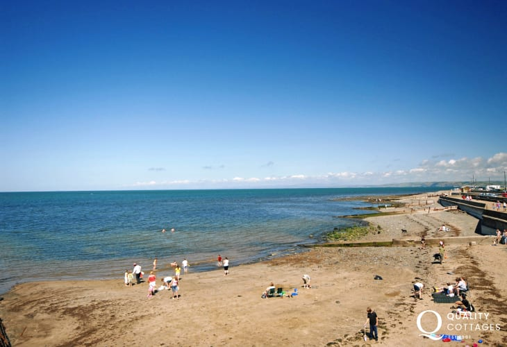 Aberaeron North Beach - a shingly beach popular for gentle watersports