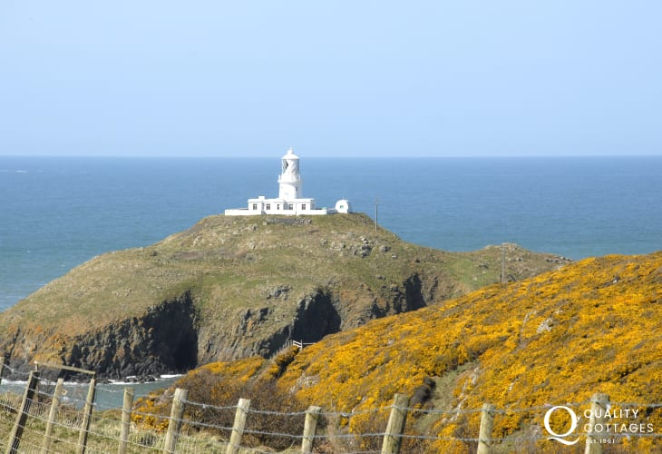 Strumble Head Lighthouse on the coast - a favourite place to spot dolphins