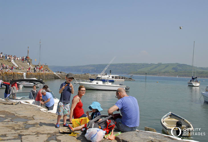 New Quay harbour wall is a great place for crabbing - great fun for all the family!