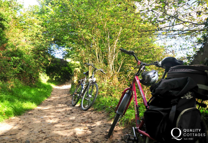 Cycling along the path to Borth y Gest beach