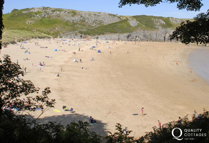 Exotic Barafundle beach, backed by sand dunes and ringed by trees, with its wonderful golden sands and sparkling sea