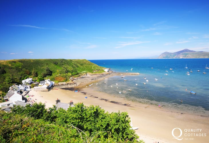 Views from Porthdinllaen towards the Rivals and Morfa Nefyn. Spend a few hours at the Ty Coch Inn on the beach