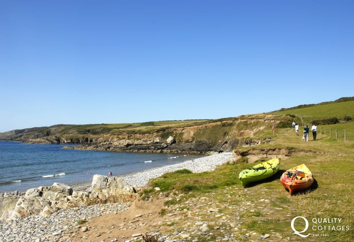 Abermawr is a secluded pebbled beach backed by woodlands