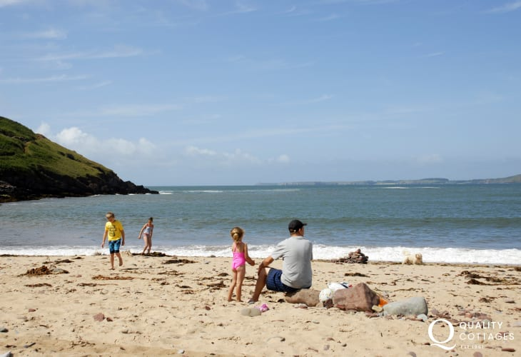 Manorbier Beach is a great favourite with golden sands to play on